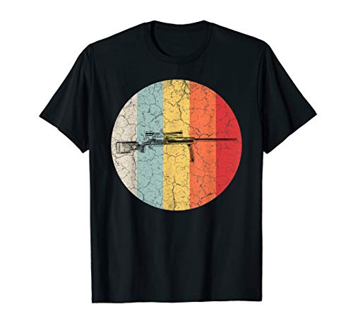 Retro Sniper T-Shirt Scharfschütze Scharfschützengewehr Jagd -