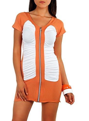 Shirt T-Shirt 2 Farbig mit Raffungen kurzarm Gr. S M 36 38, 5556 Orange