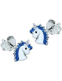 Sterling Silver Unicorn Earrings - Blue Glitter