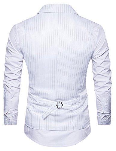 YCHENG Uomo Doppio Petto Striped Elegante Gilet Scollo Maglia Alla Moda Smanicato Corpetto Waistcoat Bianco