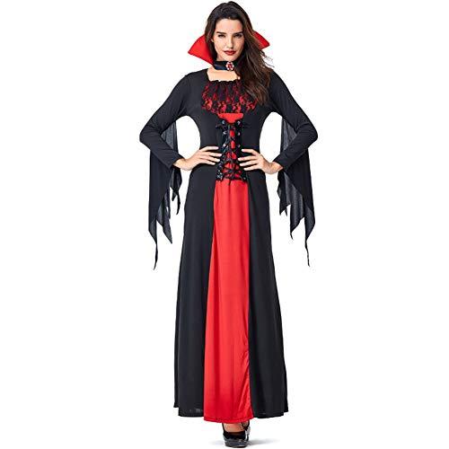 CJJC Halloween Vampire Bat Lange Kleider, Frauen Lace Devil Kostüm Mit Kreuzgurten, Für Stage Party Performance Cosplay Verwenden XL