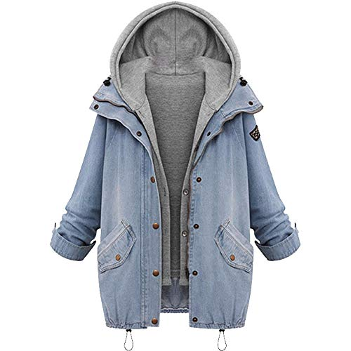 TianWlio Damen Mäntel Frauen Winter Frauen Warm Collar Kapuzenmantel Jacke Denim Trench Parka Outwear - Bootcut-jeans Metallic
