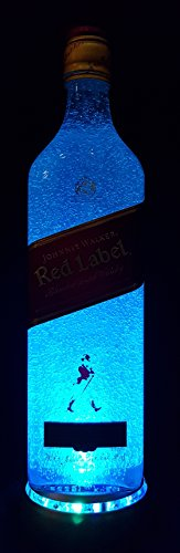 Johnnie Walker Red Label - Flaschenlampe mit LED Podest Frost Upcycling Geschenk Idee -