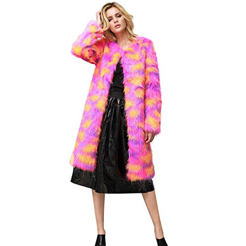 Trisee Damen Große Größe Plüschjacke Fashion Leopard Print Mantel Loose Winter Jäckchen Weich Faux Für Steppjacke Bunte Casual Military Coat Verdicken Pelzmantel Flaumig Warme Outwear (Leopard Lingerie Print)