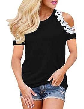 StyleDome Mujer Camiseta Elegante Verano Hombros Descubiertos Blusa Mangas Cortas Encaje Cuello Redondo Fiesta...