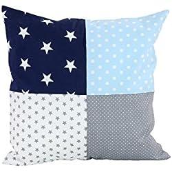 ULLENBOOM ® Patchwork Kissen 40x40 cm mit Füllung Blau Hellblau Grau (100% Baumwolle, ideal als Dekokissen, Kinderzimmer Zierkissen, Motiv: Sterne)