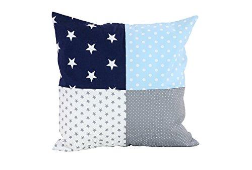 ULLENBOOM ® Patchwork Kissenbezug Blau Hellblau Grau (40x40 cm Kissenhülle, Baumwolle, ideal als Dekokissen, Kinderzimmer Zierkissen, Motiv: Sterne)