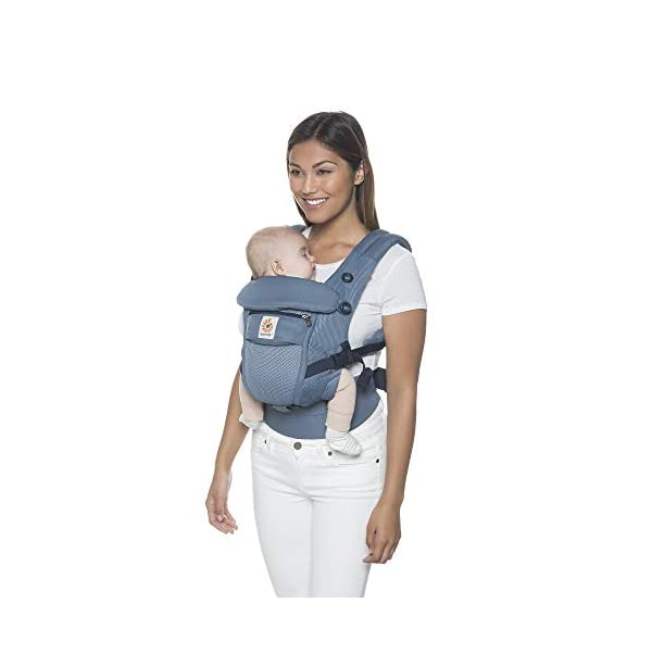 Ergobaby Baby Carrier for Newborn to Toddler up to 20kg, Cool Air Oxford Blue Adapt 3-Position Ergonomic Child Carrier Ergobaby Baby Carrier for newborns - The ergonomic bucket seat gradually adjusts to your growing baby, to ensure baby is seated in a natural frog-leg position (M-shape position) from newborn to toddler (3.2 to 20kg / 7-45 lbs). NEW - Now with lumbar support. Long-wearing comfort for parents with even weight distribution between hips and shoulders. Lumbar support waistbelt that can be adjusted to the height of the carry position for extra, long-wearing comfort. Adapt 3 carry positions: front-inward, hip and back. The carrier has a padded, foldable head and neck support and a tuck-away baby hood for sun protection (UPF 50+) and privacy. It is possible to breastfeed in the carrier. 9