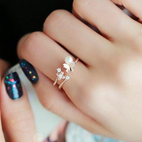 (HJWMM Weiblicher Ring Des Zeigefinger-Ringes, Einfacher Europäischer Und Amerikanischer Artschmetterlings-Perlenring,Gold)