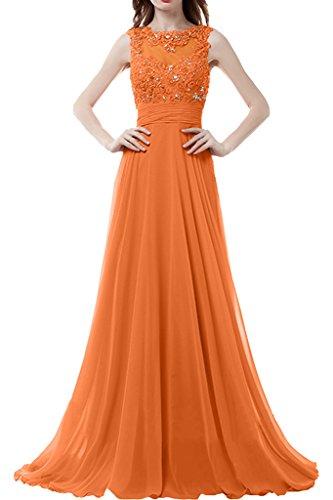Sunvary Damen Neu Rund Chiffon Spitze Steine Abendkleider Lang Ballkleider Partykleider Orange