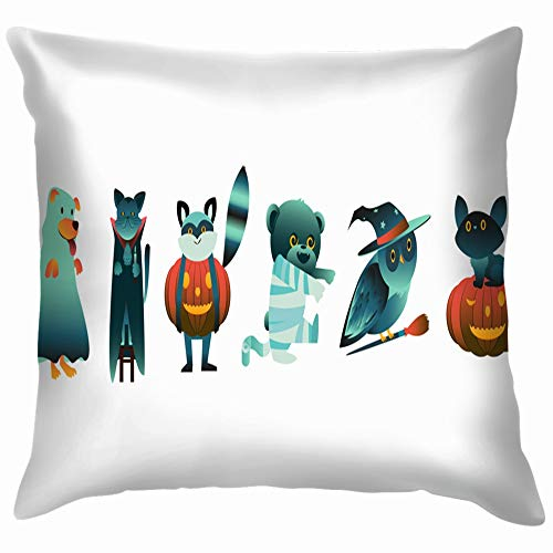loween Animal Characters Spooky Costumes Holidays Cotton Throw Pillow Case Cushion Cover Home Office Decorative, Square 18X18 Inch ()
