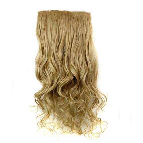 rücken Frauen Lockiges Haar Perücke Haarteil Clip False Hair Synthetic Hair Extension Curly Heat Resistant Hair Brown Gold Perücke Damen schwarze lockige Perücke (M) (Herren Lang Haar Perücken)