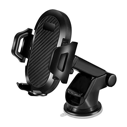 JUMKEET Supporto per Telefono Cellulare da Auto, Regolabile Supporto Auto Smartphone con Cuscinetto in Gel Adesivo, Supporto per Parabrezza Compatibile with iPhoneXS Max XR X/Samsung/Huawei (Black)