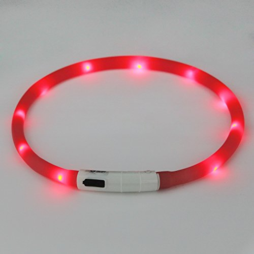 Dog-Collar-Bestwe-LED-Pet-Collar-USB-Rechargeable-Pet-Safety-Collar-Waterproof-Light-up-Adjustable-Flashing-Collar-Red-light