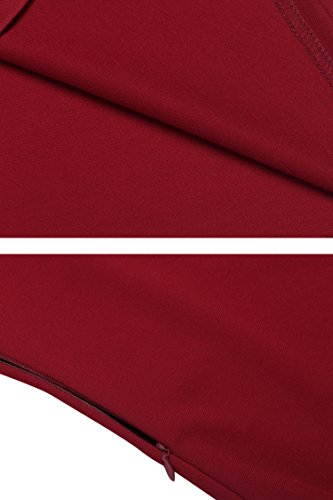Zeagoo Damen 3/4 Ärmel Rundhals 60s Vintage Kleid Rockabilly Festliche Kleider Freizeitkleid Weinrot - 6