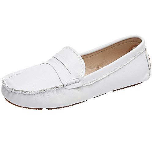 rismart Damen Schlüpfen Mokassin Loafer Wohnungen Hausschuhe Schuhe SN020742(Weiß,39 EU) -