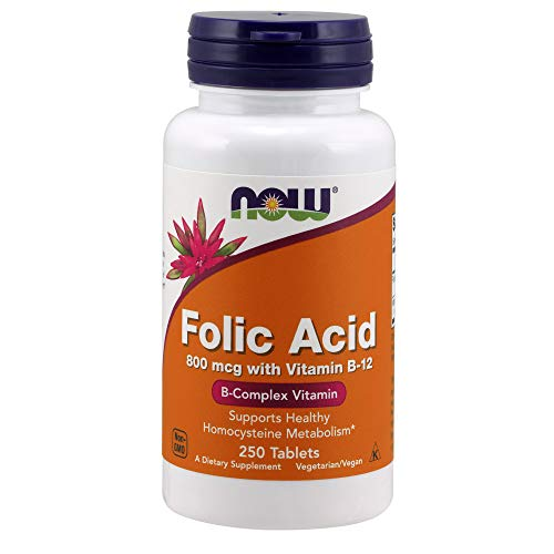 Now Foods Folic Acid 800 Mcg with Vitamin B - 12 B - Complex Vitamin Tablets - 250 Count