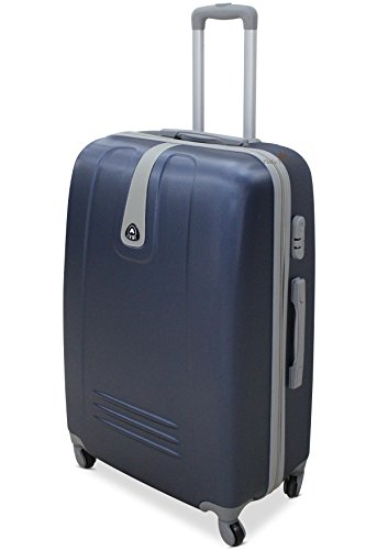 Set 3 Valigie Trolley Rigido Piccolo Medio Grande 4 RUOTE Valigia in ABS (Blu)