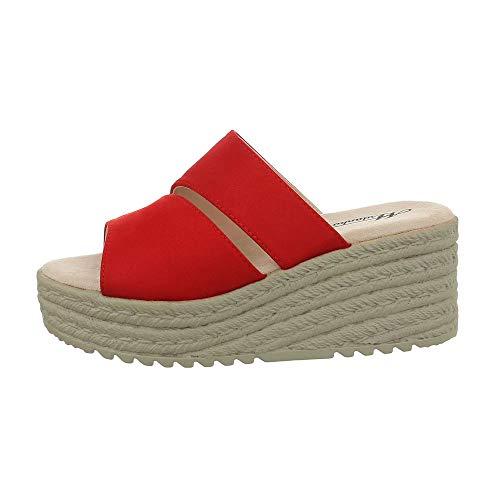 Ital-Design Damenschuhe Sandalen & Sandaletten Pantoletten Synthetik Rot Gr. 38 (Rote Fee Kostüm)