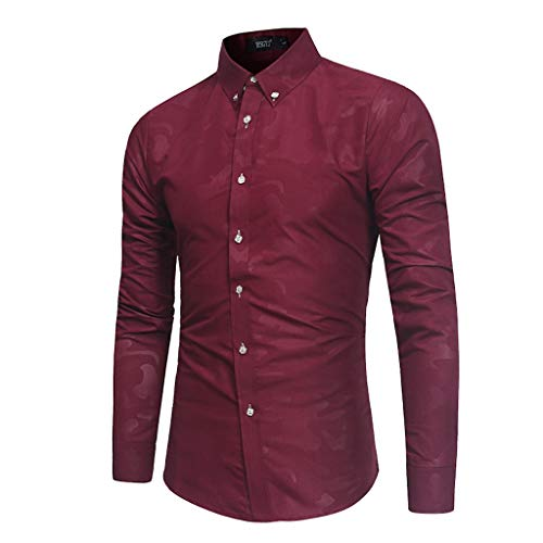 Herren-Hemd Slim-Fit Button Turn-Down CollarFür Anzug, Business, Hochzeit, Freizeit - Langarm Hemden für Männer Langarmhemd -