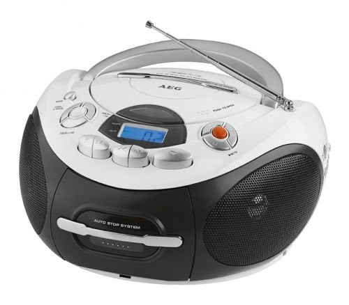 AEG SR 4353 Stereo-Kassetten-Radio mit CD/MP3, Toploading-CD-Player, Kassettendeck und Radio (Cd Player Mp3 Radio)