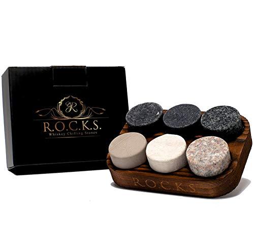 ROCKS WHISKEY CHILLING STONES Whisky Steine - Set Aus 6 Handgefertigten Premium Granit Rundschleifsteinen - Präsentations & Aufbewahrungsschale Aus Hartholz R.O.C.K.S.