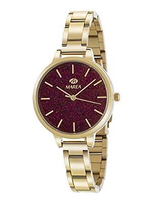 Marea B41239/14 Reloj para Mujer con Correa Dorado y Pantalla en Fucsia