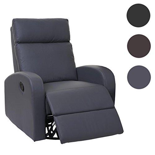 Fernsehsessel HWC-A54 Premium, Relaxsessel Schaukelstuhl Wippfunktion, drehbar Kunstleder ~ grau