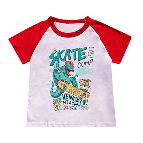 JUTOO Kinderbaby-Karikatur-heiße Art-Dinosaurier-Muster-Buchstabe-Druck-T-Shirt, das Hemd übersteigt ()