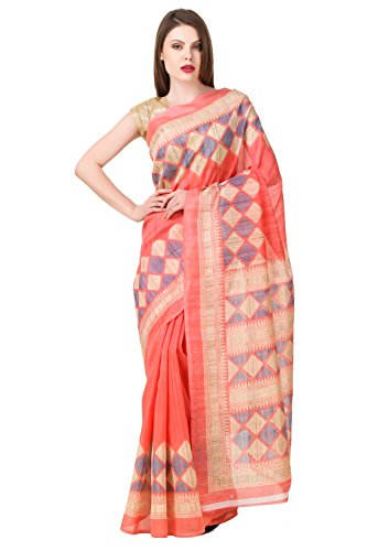 Levazo Women's Poly Cotton Saree With Blouse Piece (Lvsvm05_Pink)