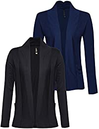 Espresso Women's Full Sleeve Front Open Viscose Shrug/Cardigan with Pocket - Pack of 2