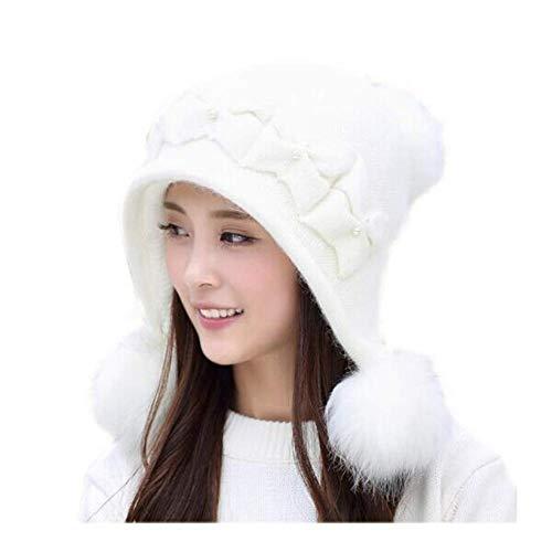 LIXUE Chapeau Femelle Hiver Version coréenne épaississement Bonnet Bonnet Mauve Oreille Protection Chapeau Chaud (Color : White)