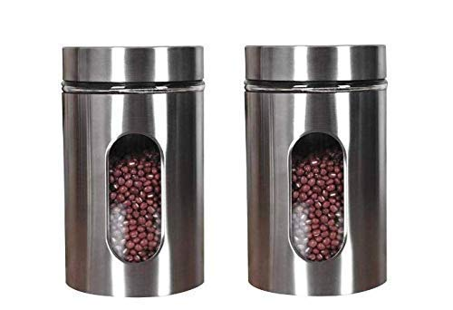 Spatlus Stainless Steel Plated Glass Kitchen Canister, Airtight Food Storage, Visible Window Seasoning Cereal Container Organizer, Capacity 900 ml Each (Medium, Clear) (Pack 2)