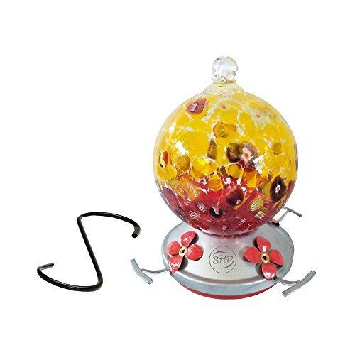 Best Home Produkte Kolibri Feeder, mundgeblasenes Glas, Cranberry Popcorn, 3Tassen -