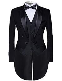Hommes queue de morue Veste de Costume 3 Pièces Uniforme Suit Ronde Châle Tuxedo Dîner Mariage Prom Party Blazer+Gilet+Pantalons