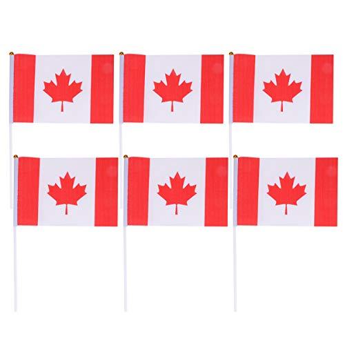 Toyvian 50 stücke Kanada Stick Flagge Kleine Kanadische Nationalflaggen Partydekorationen für Olympische Sportvereine Festival Events Feier -