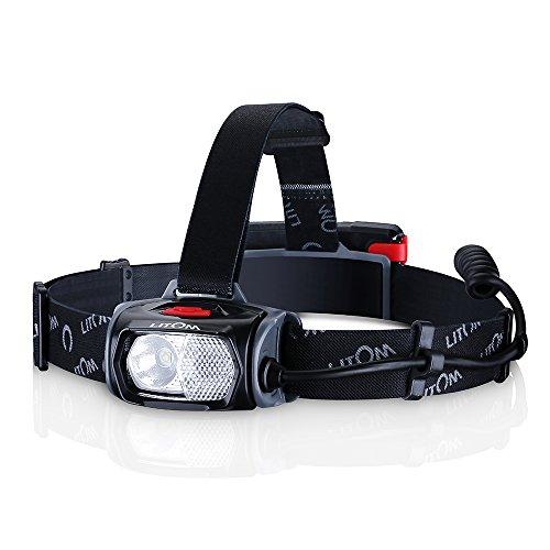 Litom LED Stirnlampe LED Kopflampe IPX6 wasserdicht Stirnlampe USB Wiederaufladbare Kopflampe rotlicht Kopfleuchte,mit Gestenkontrolle 6 Modi zu wählen,perfekt für Laufen, Camping, Lesen, Laufen,Joggen, usw.