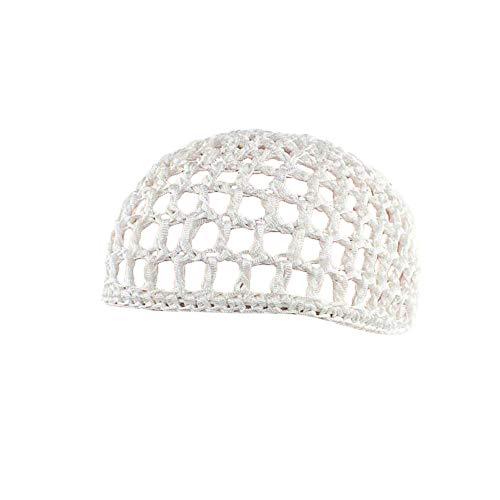 UJUNAOR Frauen Schlafmütze Handgemachte Gehäkelte Haarnetz-Taschennetz Gelockte Handhäkelarbeit Haar Mütze Nachtkappe(Weiß) (Frauen Schwarzen Und Weißen Hut)