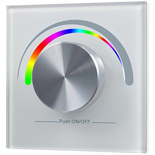 Preisvergleich Produktbild Design Wand-Dimmer R für RGB LEDs, Funk, 1 Zone, batteriebetrieben, Installation in Schalterdose | weißes Glas