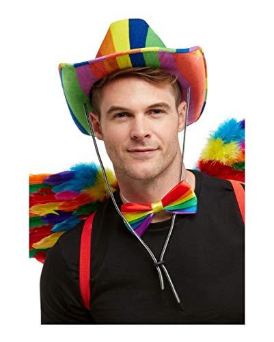 Horror-Shop Regenbogenfarbener Cowboyhut für Festivals & Gay Pride (Gay Pride Kostüm)