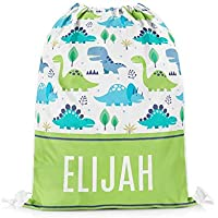 Tee Monkey Personalised Name Dinosaurs 6 Drawstring Bag Swim PE School Sports Bag Boys Gift