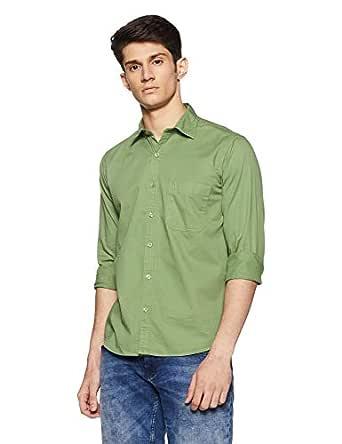 Pan America Men's Solid Slim Fit Casual Shirt (PA_Leg_690344_44_Green_XX-Large)