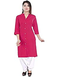 Vaidiki Designer Pink Coloure Front Slit Plain Cotton Kurta With White Patiala Readymade Suit For Women's