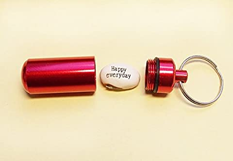Magic Message Bean HAPPY EVERYDAY in RED capsule/Waterproof Cash box/Key ring/Novelty/Xmas Gift Stocking Fillers/ Seed/Valentines