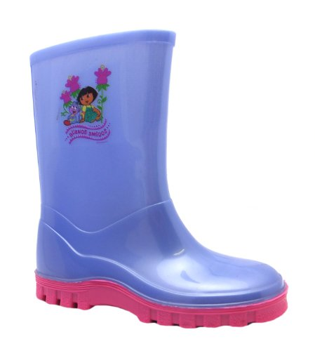 Dora the Explorer Girls Snap Lilac Slip On Welly Boots