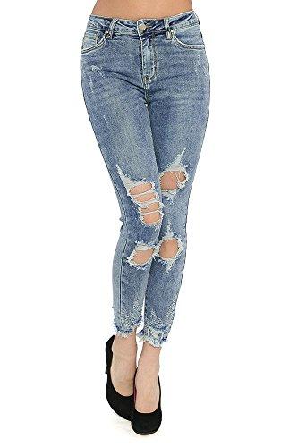 Damen Jeans Hüftjeans Röhre Skinny Röhrenjeans Zerissen Strech Löcher Jeans  Blau