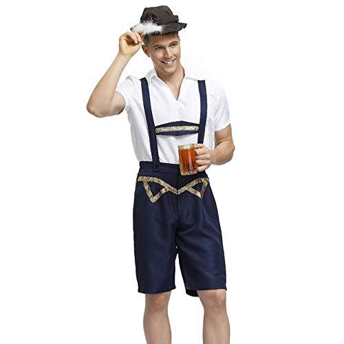 Alten Guy Kostüm - LaLaLa Adult Mens Oktoberfest Bayerischen Bier Guy Medium Kostüm (3 Stück): Hut, Weißes Hemd, Gürtel Hose,M