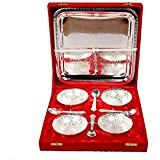 IBirds Genuine Handicraft Silver Quadra Bowl 9 Pieces Set Of 4 Bowl, 4 Spoon And 1 Tray With Gift Box Best Choice For Gifting