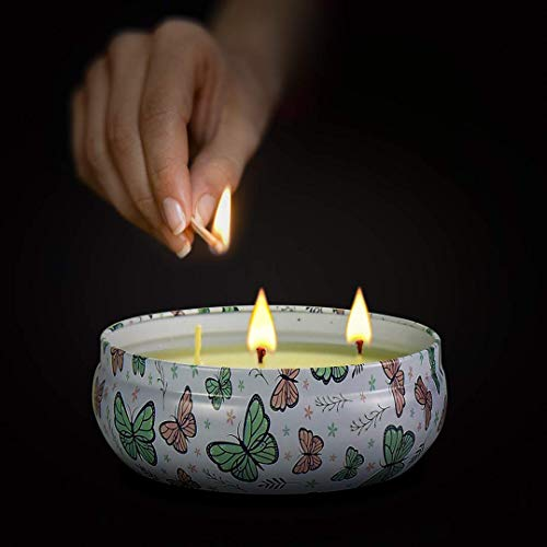 CREASHINE Mückenschutz Duftkerzen Outdoor Indoor Aromatherapie Stressabbau Reines Soja Wachs 3 Dochte Aromatherapie Kerzen 70 Stunden Brennen Langlebig (16 Unzen, Eisenkiste) (1Duft-Spring)
