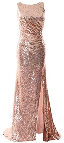 MACloth Women Cowl Back Sequin Formal Party Gown with Slit 2017 Maxi Prom Dress Rose Gold